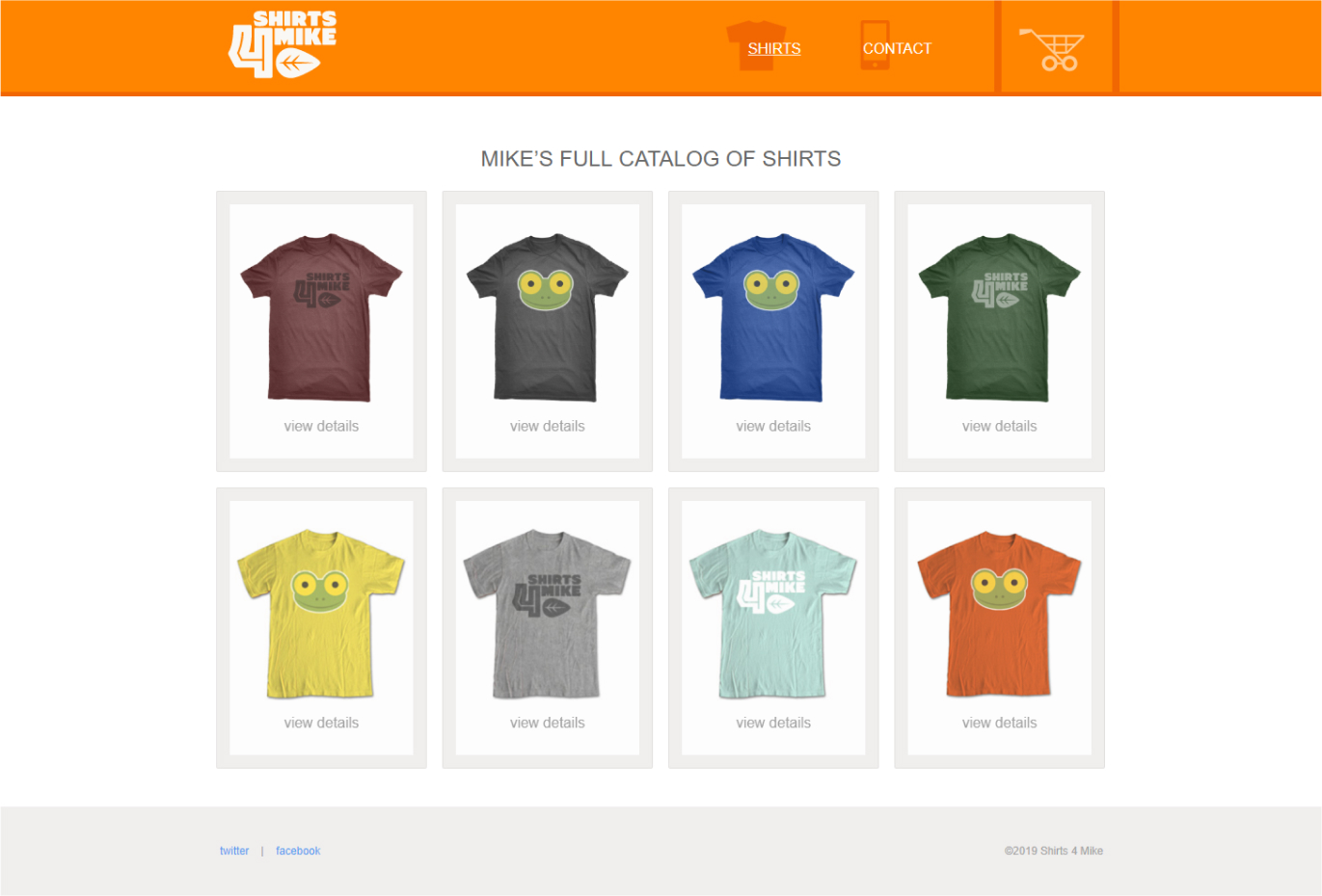The Shirts page.