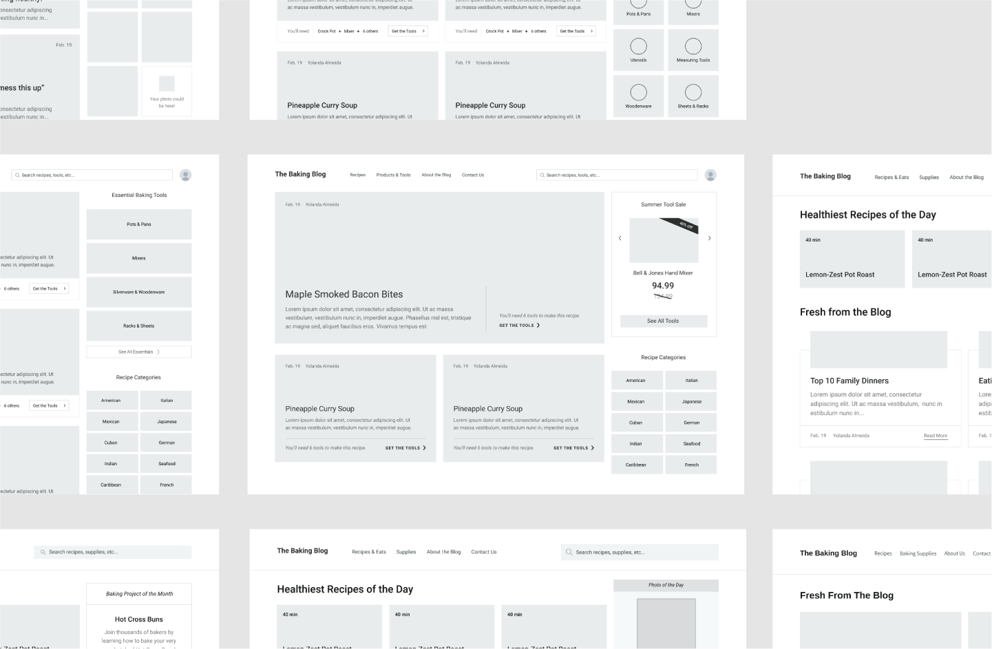 A group of wireframe variations.