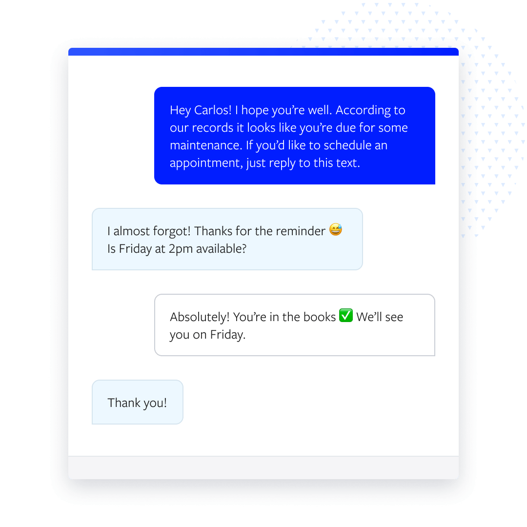 Conversation between agent and customer regarding an appointment setup