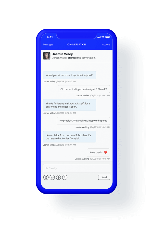 Smart phone featuring a conversation within Textline mobile app