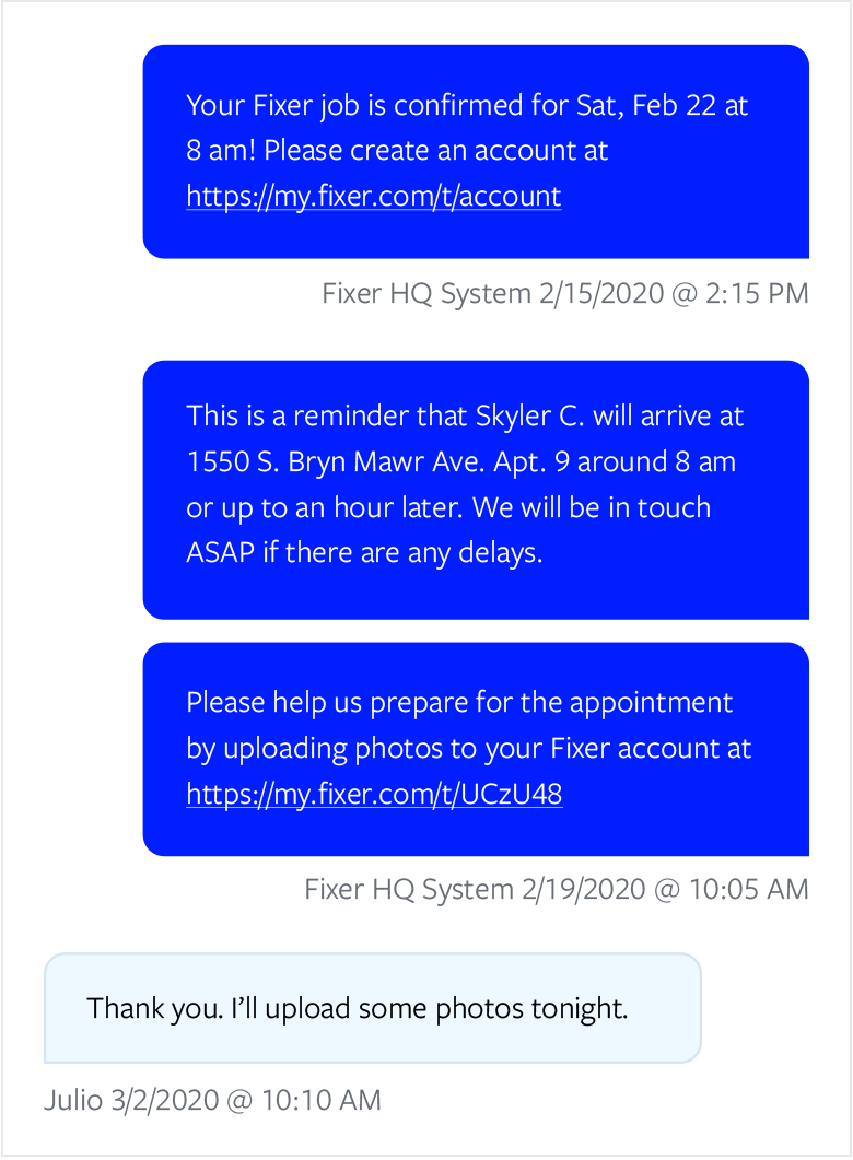 Automated conversation with a customer