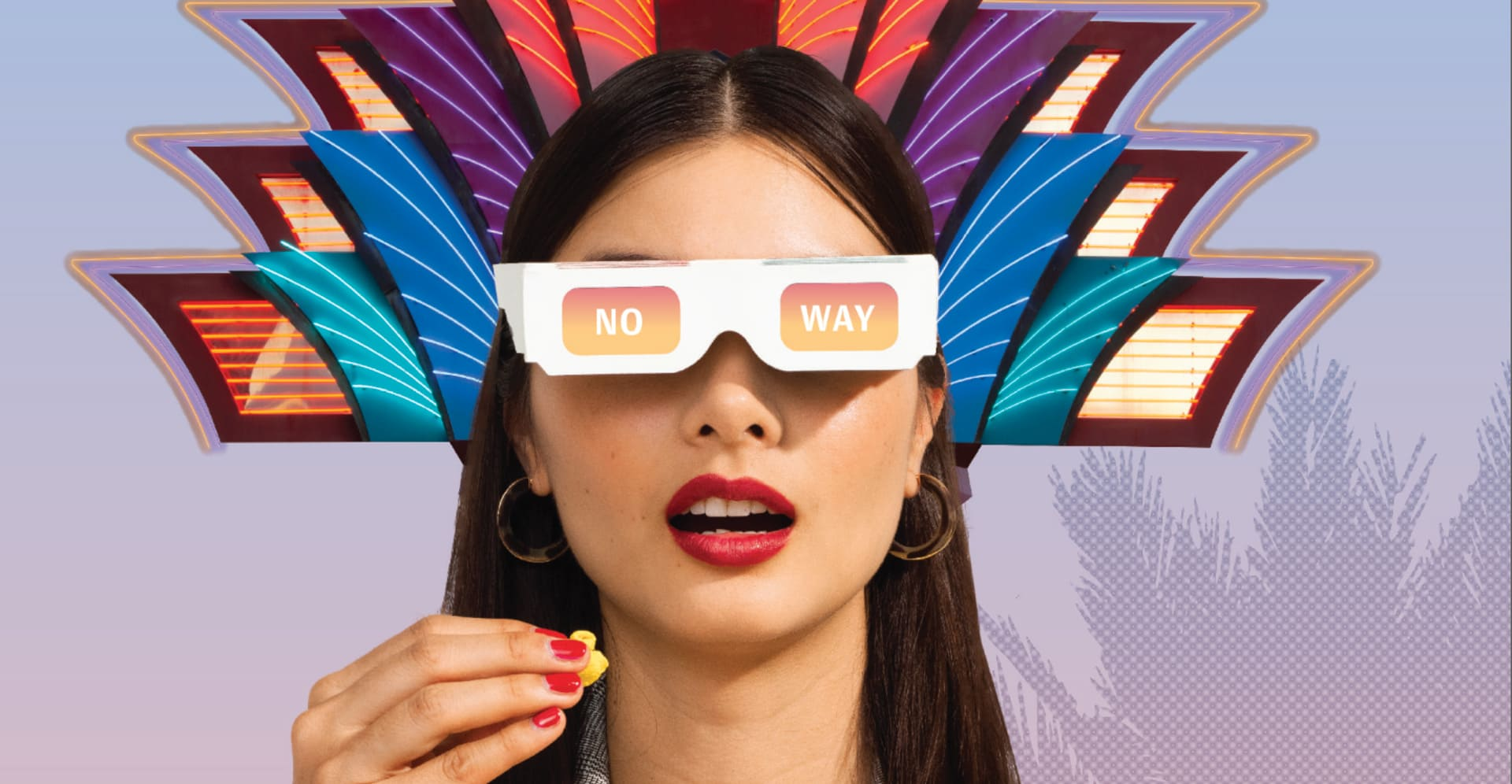 """Portrait of a woman wearing 3D glasses that say """"No Way"""" in front of a surreal purple background."""