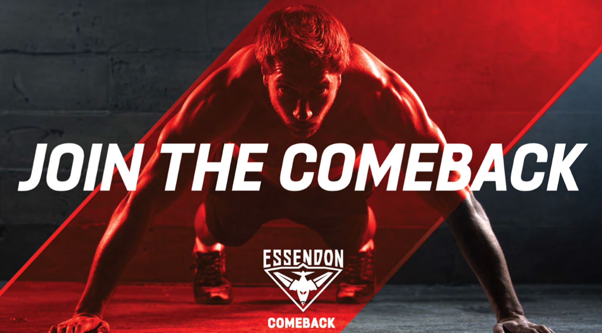 """Image that reads """"Join The Comeback"""" with a red overlay of an image of a man doing push-ups."""