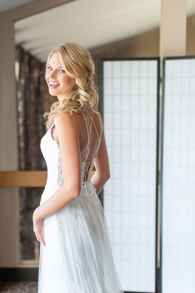 Gorgeous bride in her wedding dress