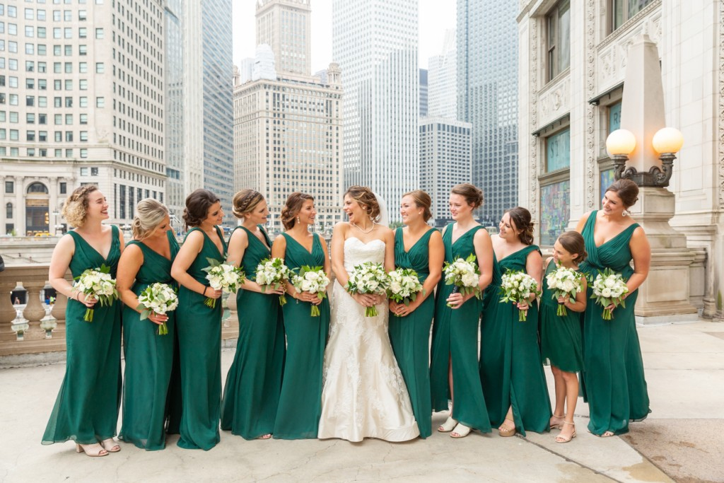 Bridal party in downtown chicago, river and wrigley building