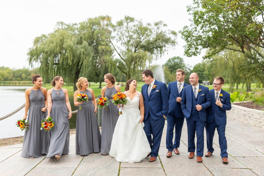 Bride and groom with their crew