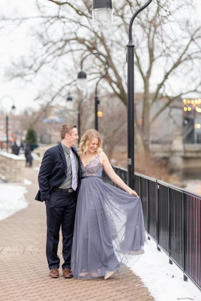 Engagement session on the riverwalk