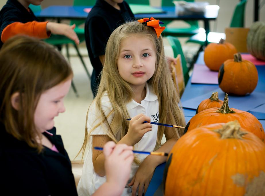 Private school student paints