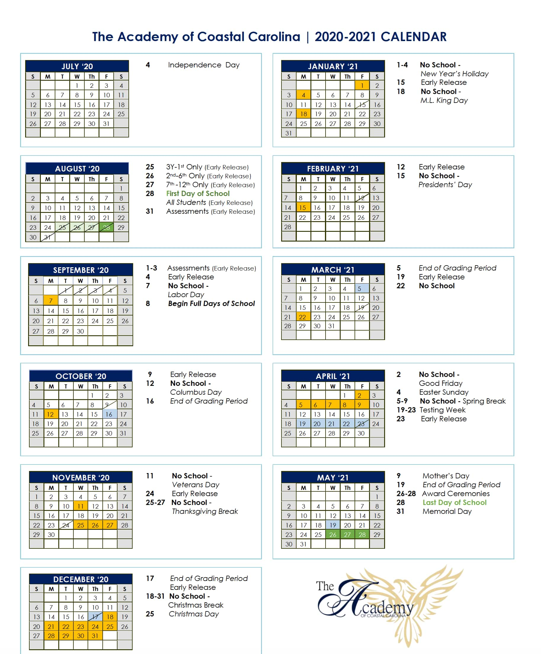 The academy of coastal carolina academic calendar