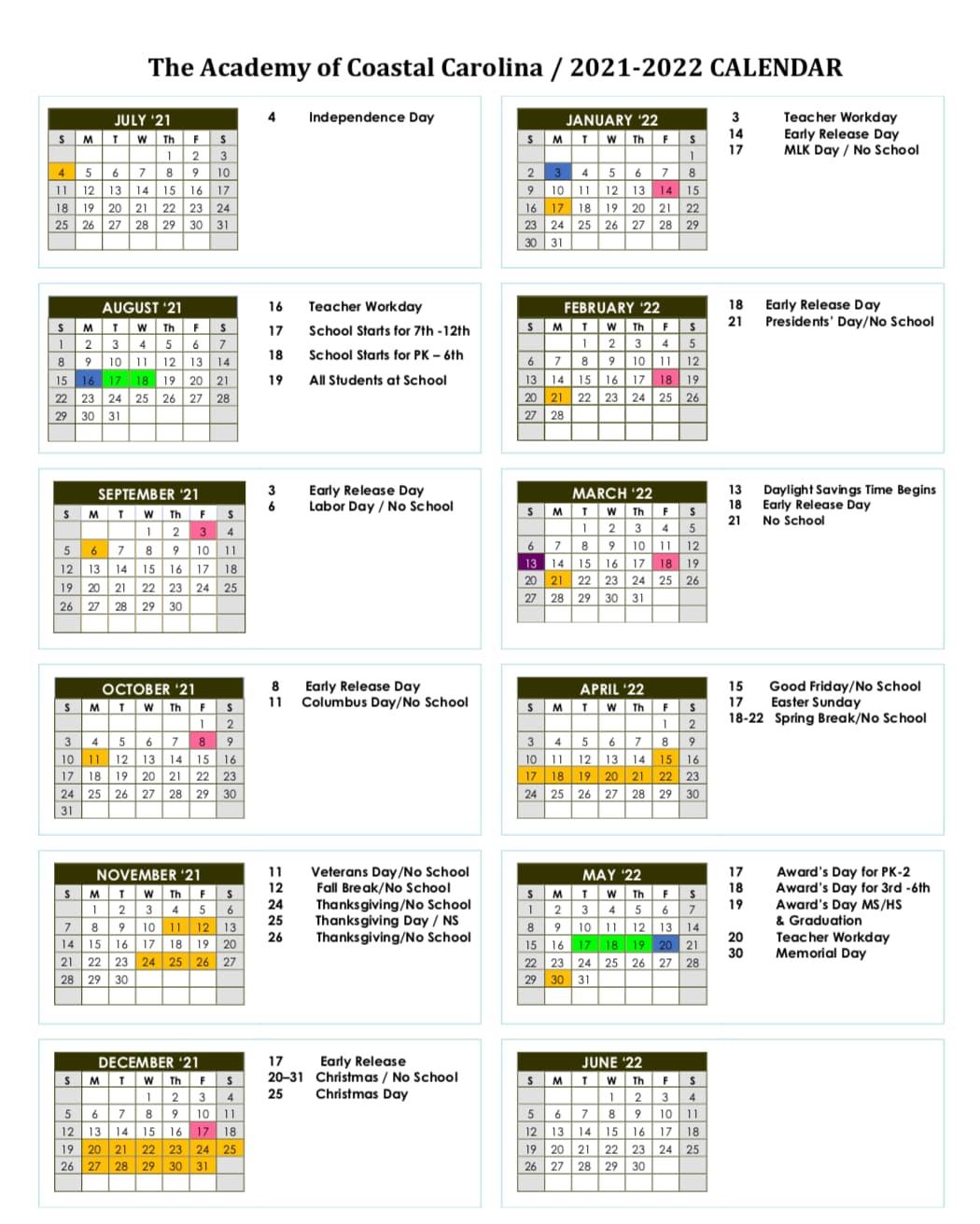 The academy of coastal carolina academic calendar