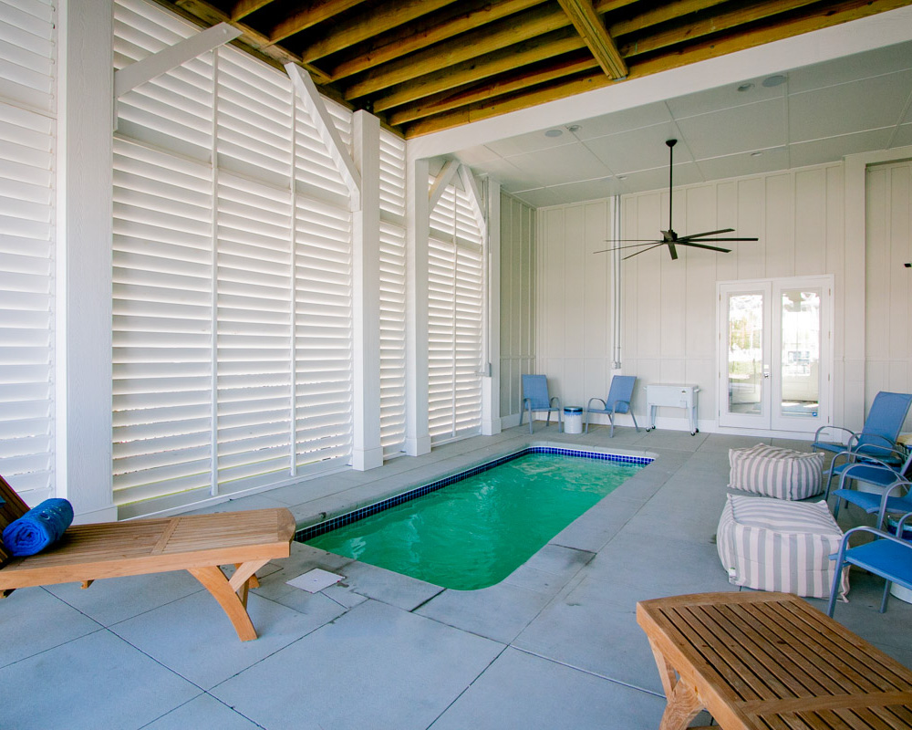 endless pool in custom built beach house