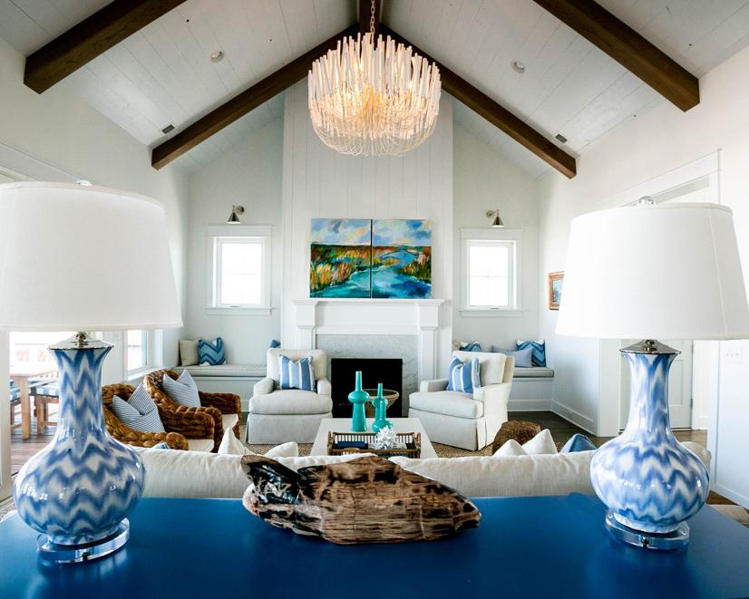 modern living area in ocean isle custom home