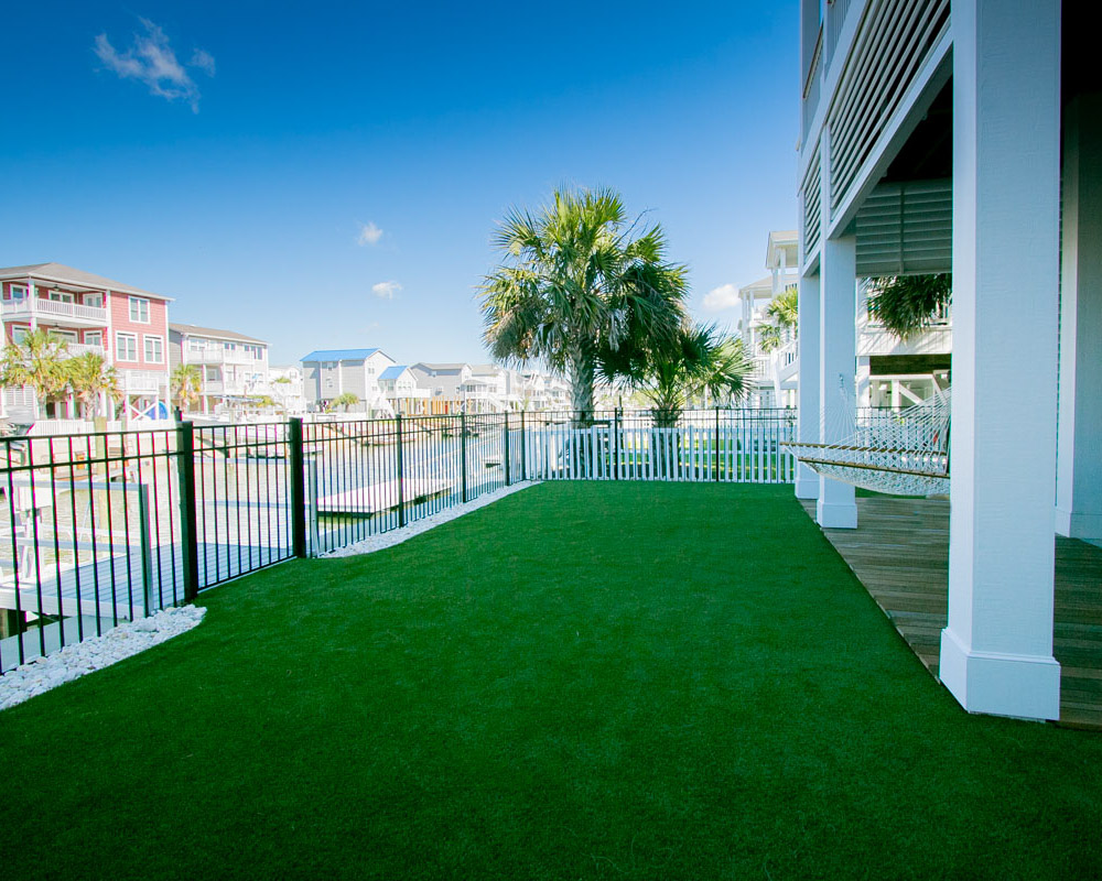landscaping in custom beach canal home