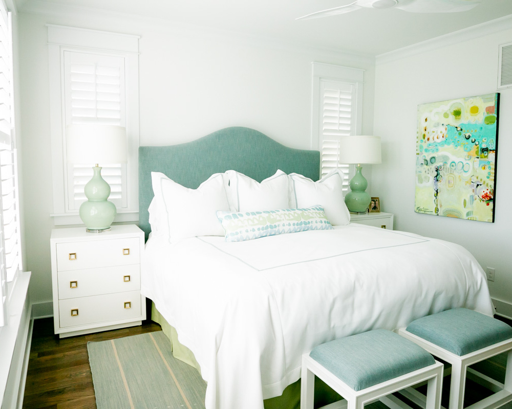contemporary bedroom in luxury ocean isle home