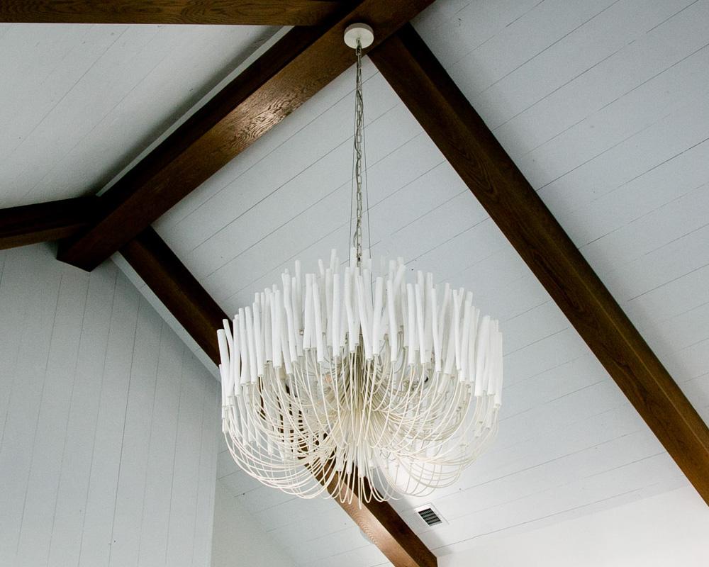unique light fixture in custom beach home