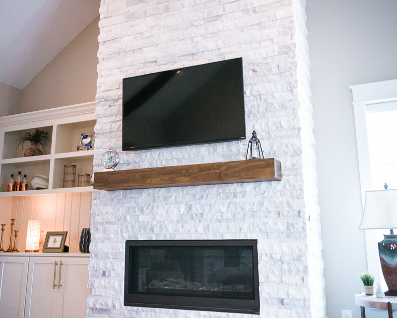 stone fireplace in custom built home