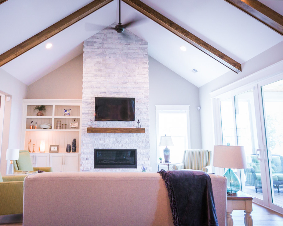 cathedral ceilings in custom sunset beach house