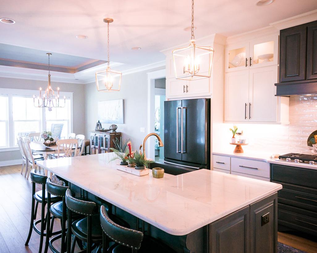 open kitchen in custom sunset beach house
