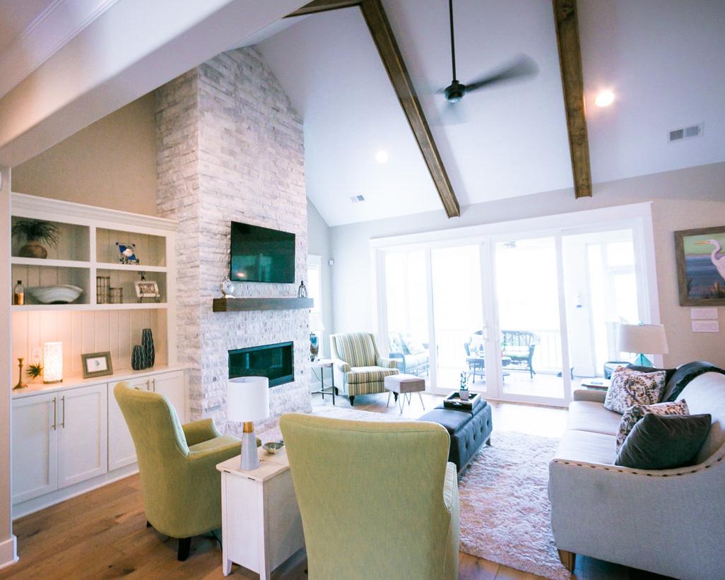 open living room in luxury sunset beach home
