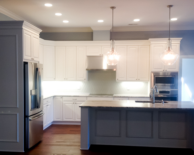 Blue cabinets in beach home