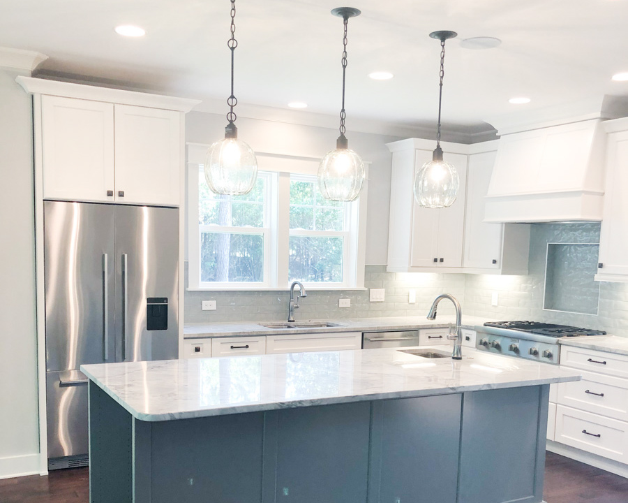 kitchen island by custom ocean isle home builder