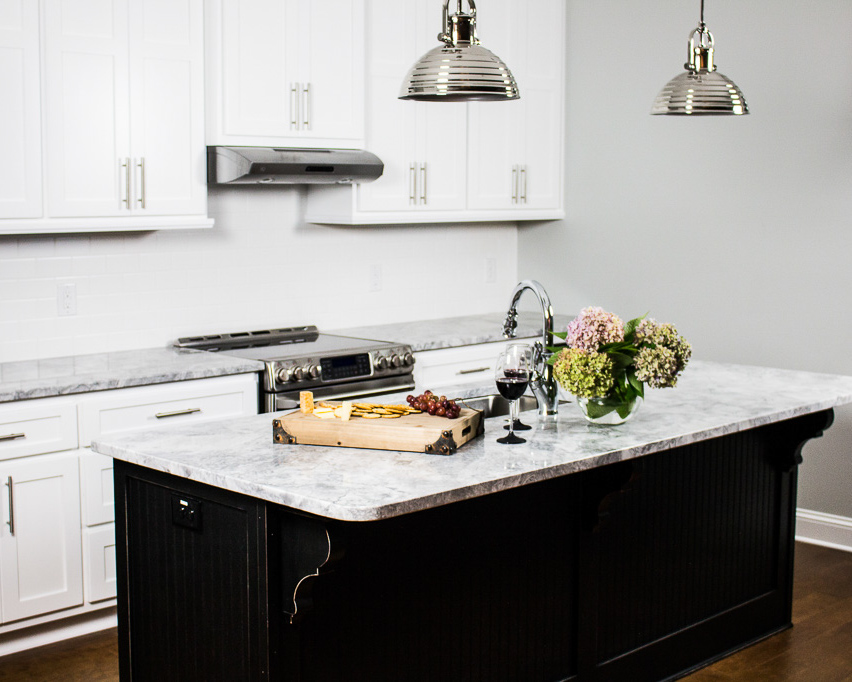 black kitchen island by Crews Construction