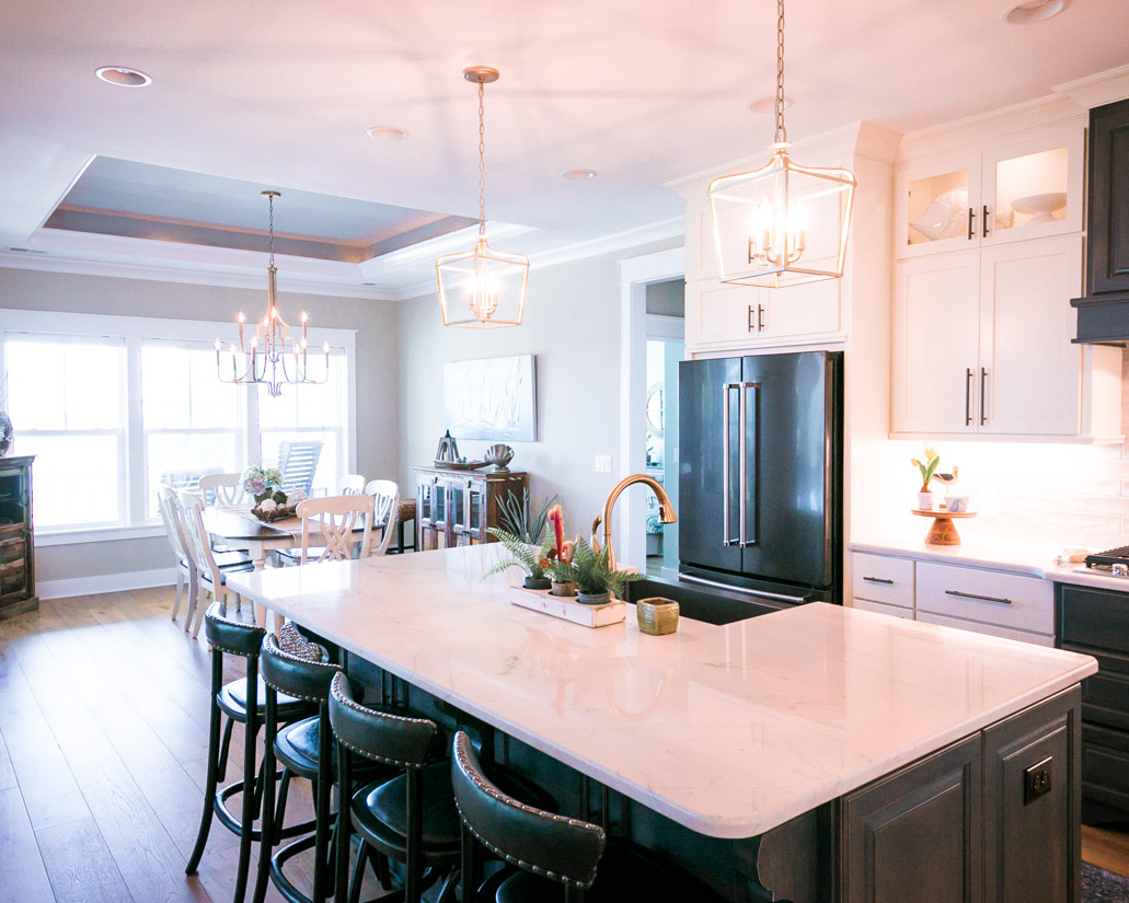 traditional black kitchen by home builder