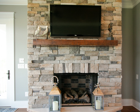 stone fireplace in custom home