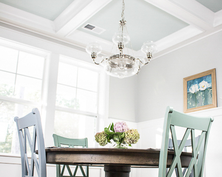 coffered ceilings by new golf course home builder