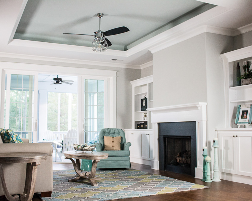 coffered ceilings in custom golf course home