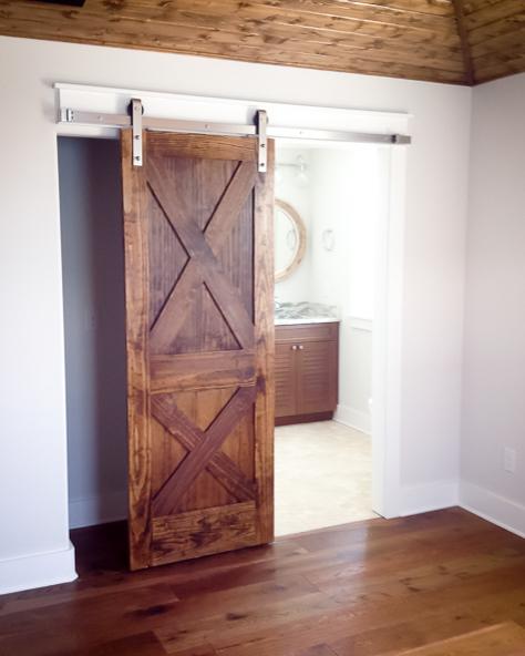 rustic barn door in new golf course construction