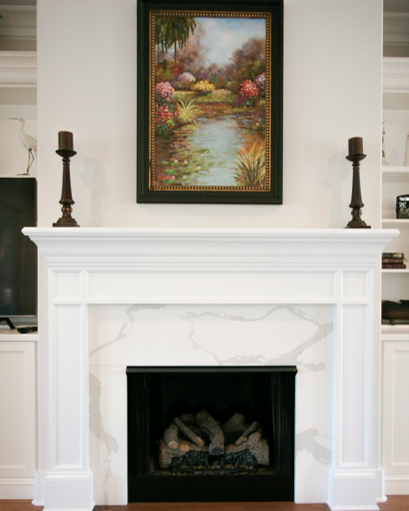 marble fireplace by custom builder in Ocean Isle Beach