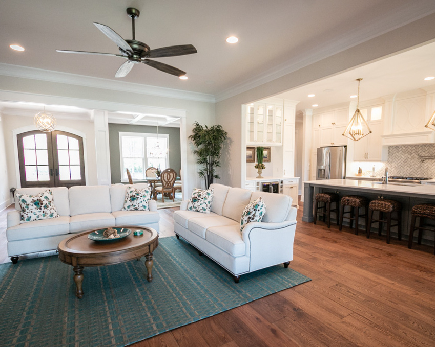 open living area in new golf course construction