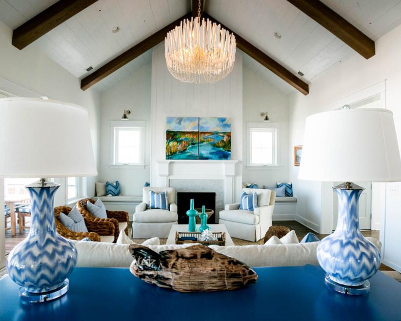 modern living area in luxury beach home