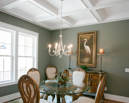 coffered ceiling in new ocean ridge plantation home