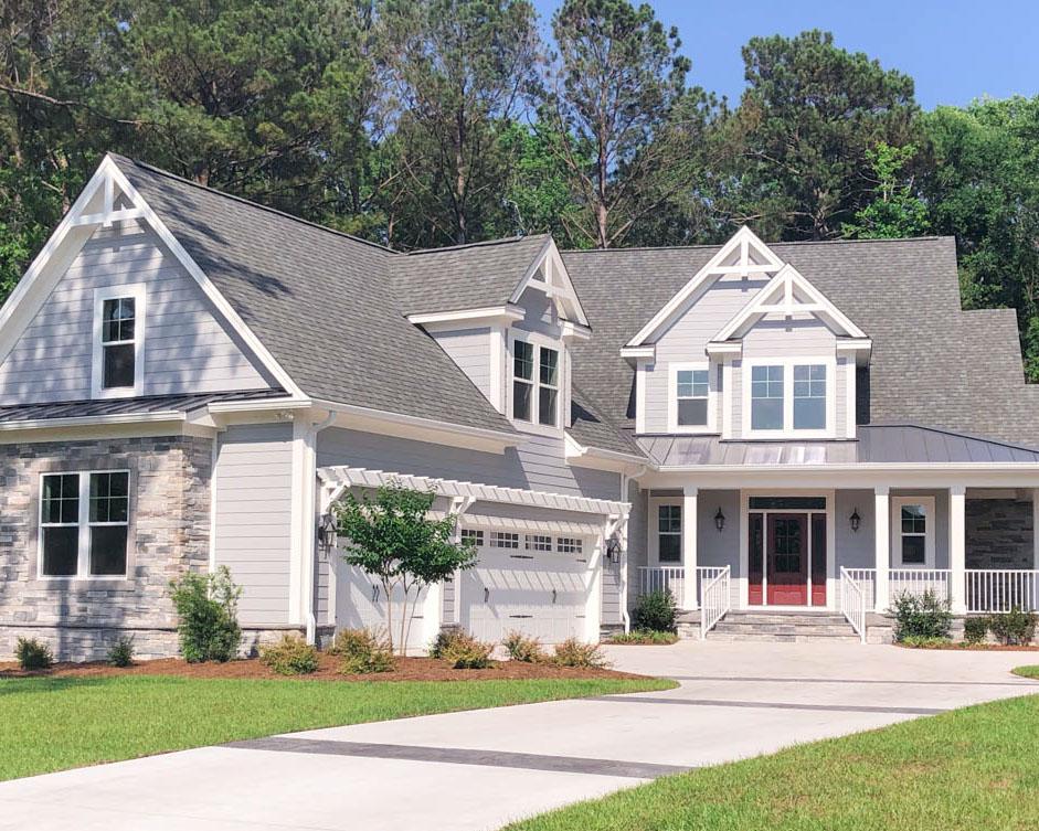 new custom home exterior in ocean ridge