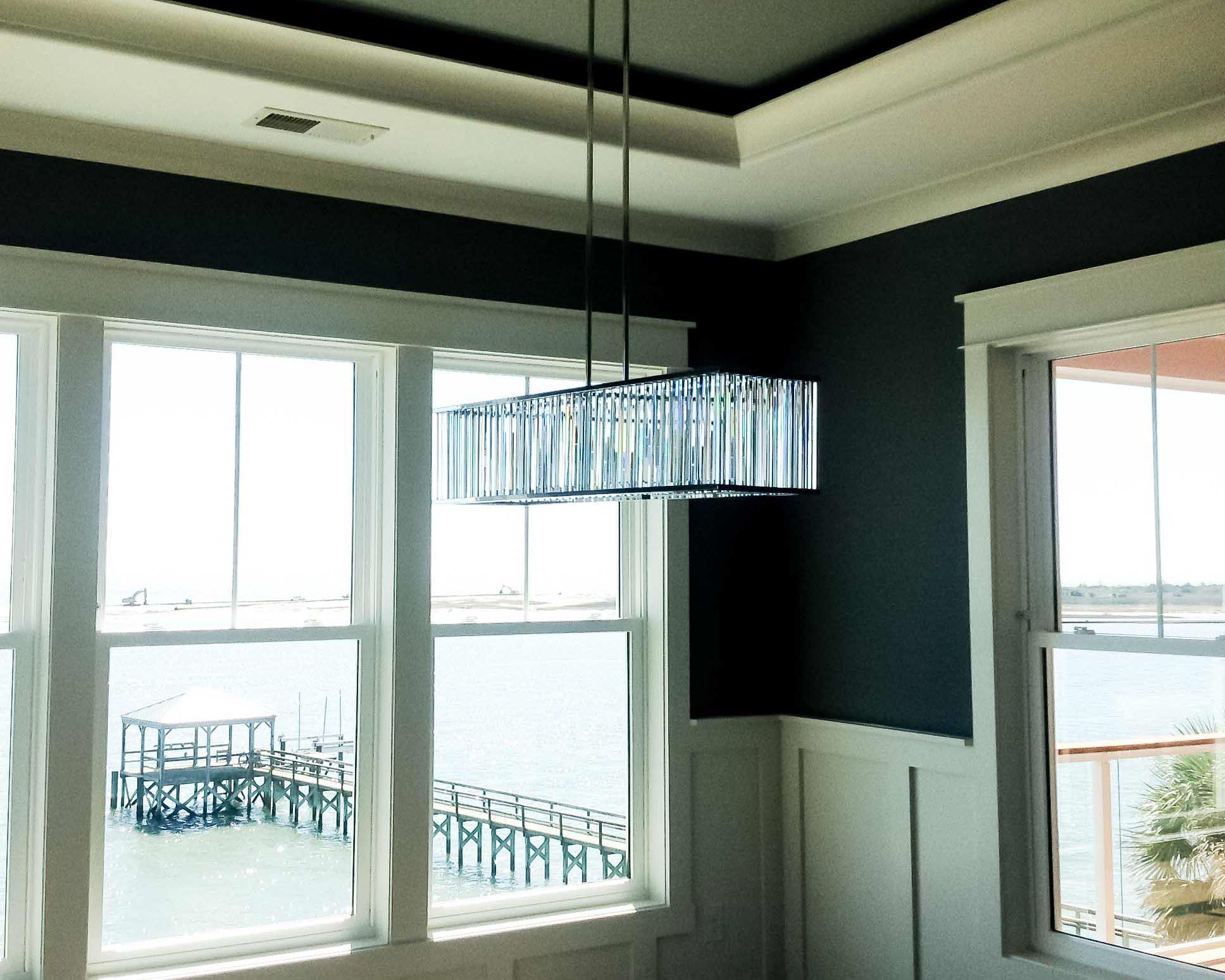 new custom home with waterway views