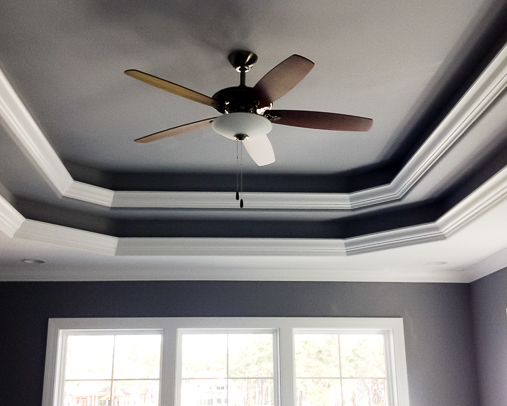 tray ceiling in new custom golf course house