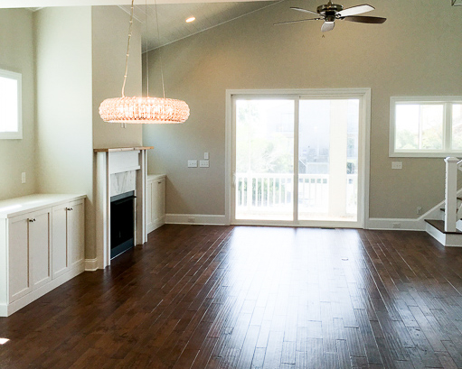 wood floors in open living area