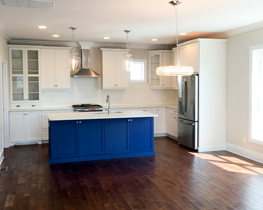 clue kitchen island in custom Sunset beach home