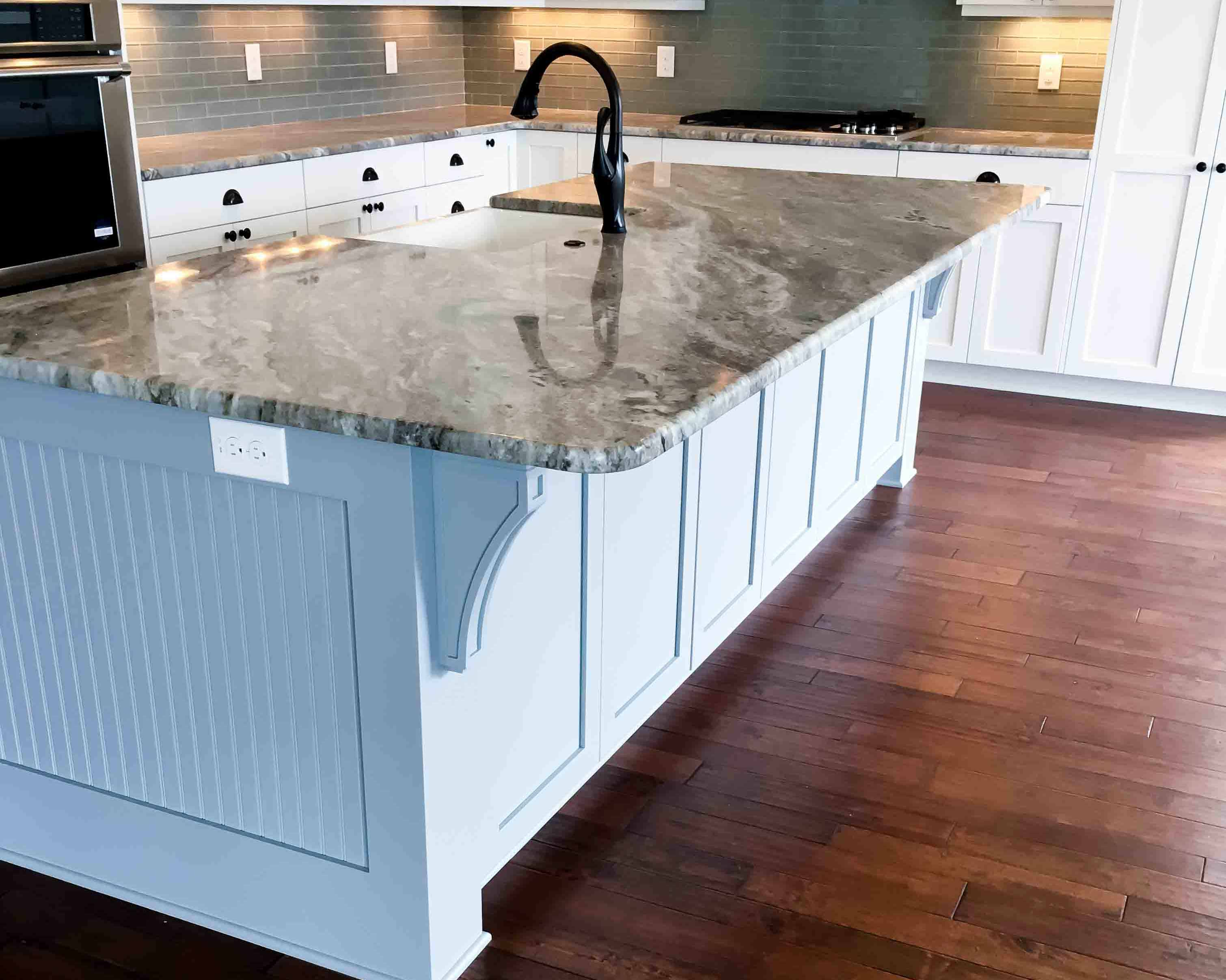 Custom kitchen island in new construction home