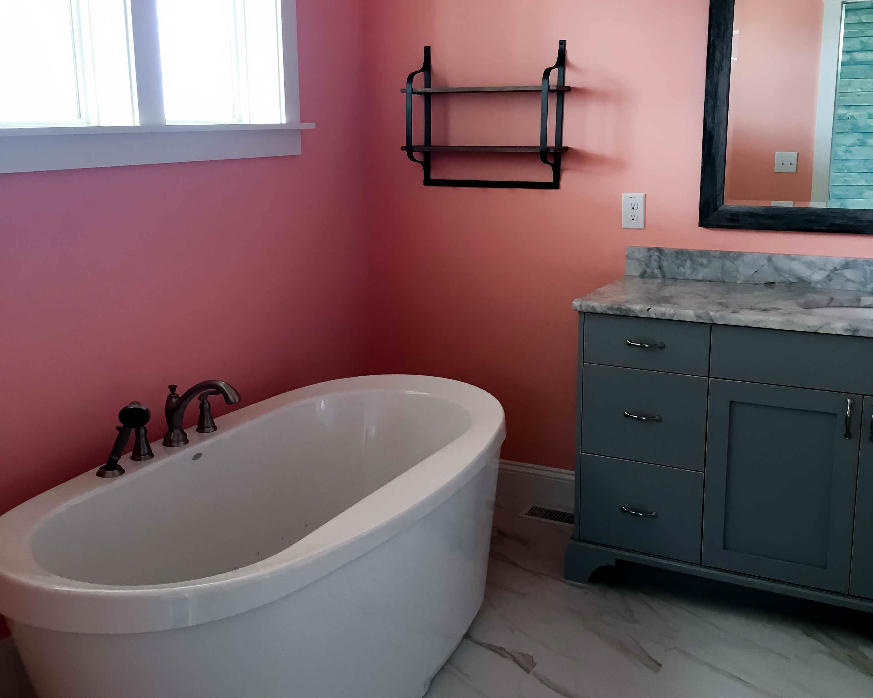 soaking tub in master suite of new home