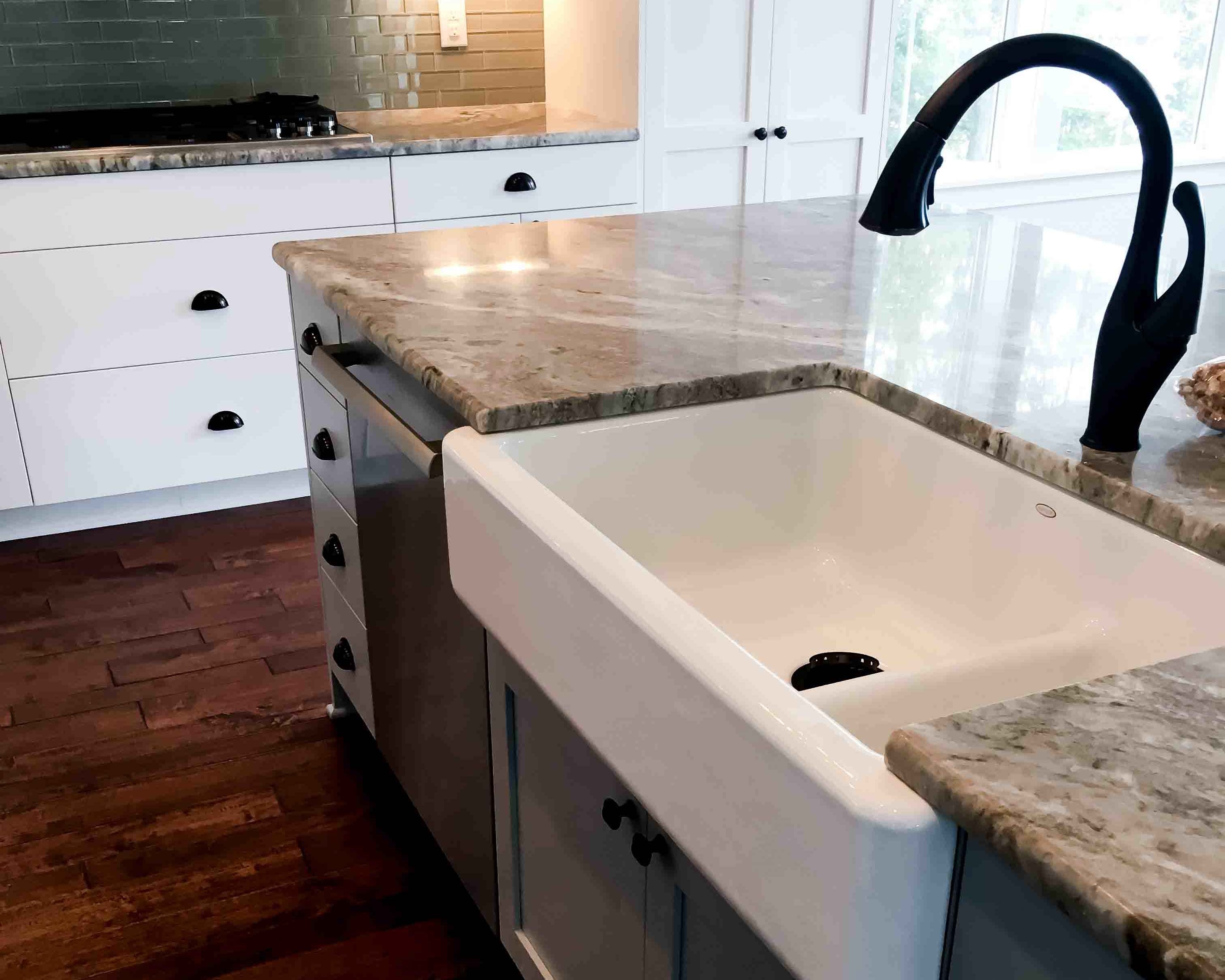 apron sink in new custom built kitchen