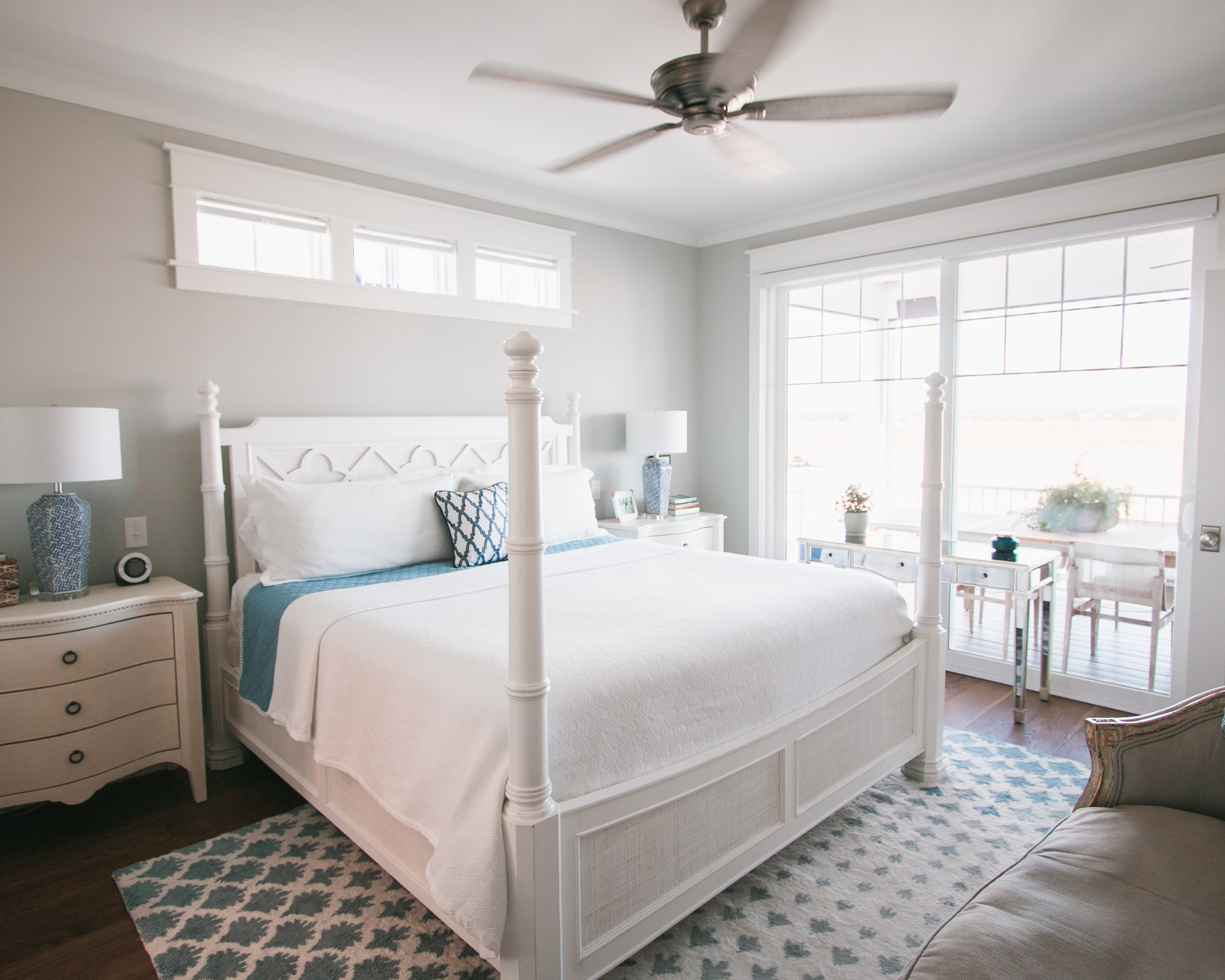 bright airy bedroom in beach home