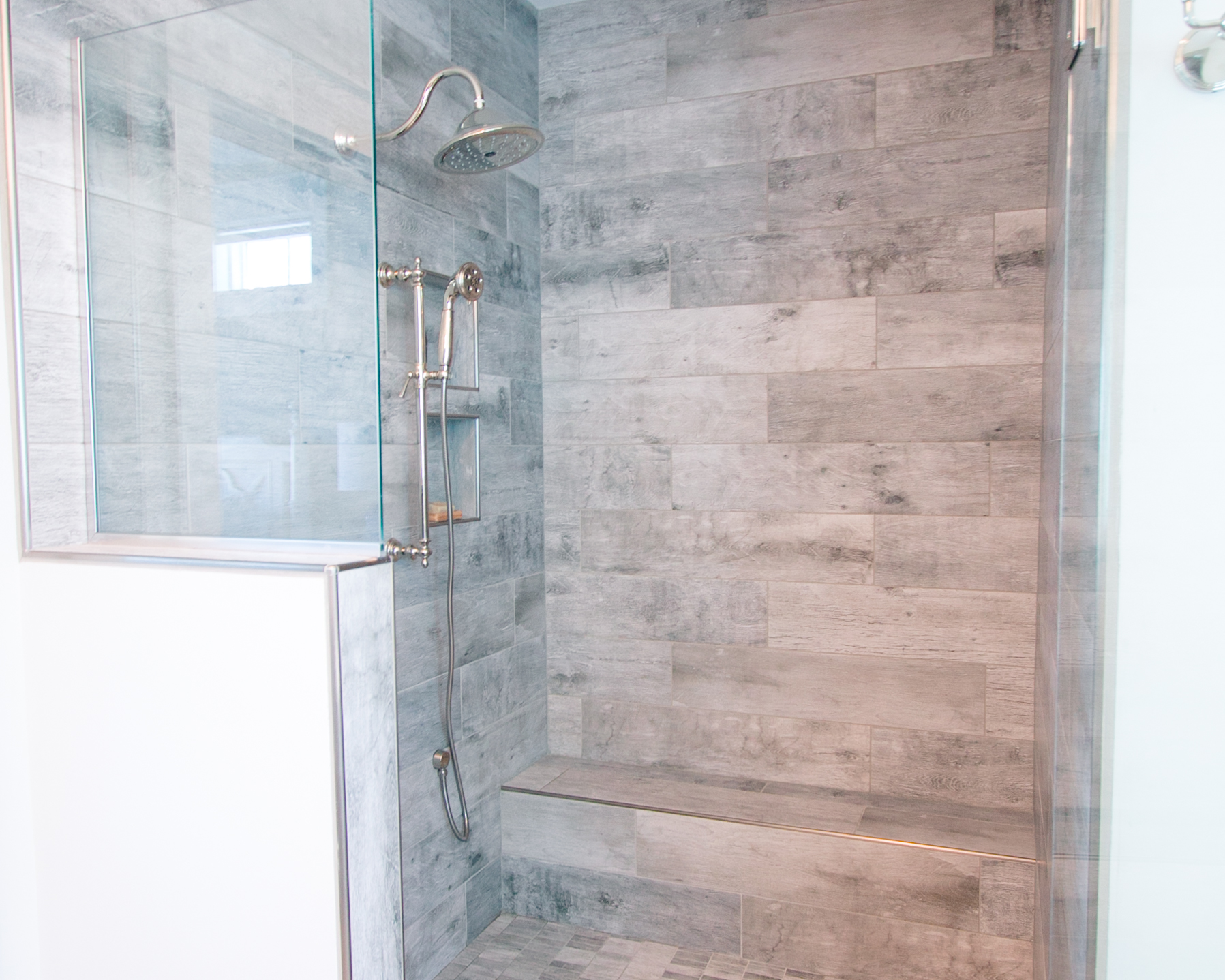 custom tile shower in beach home