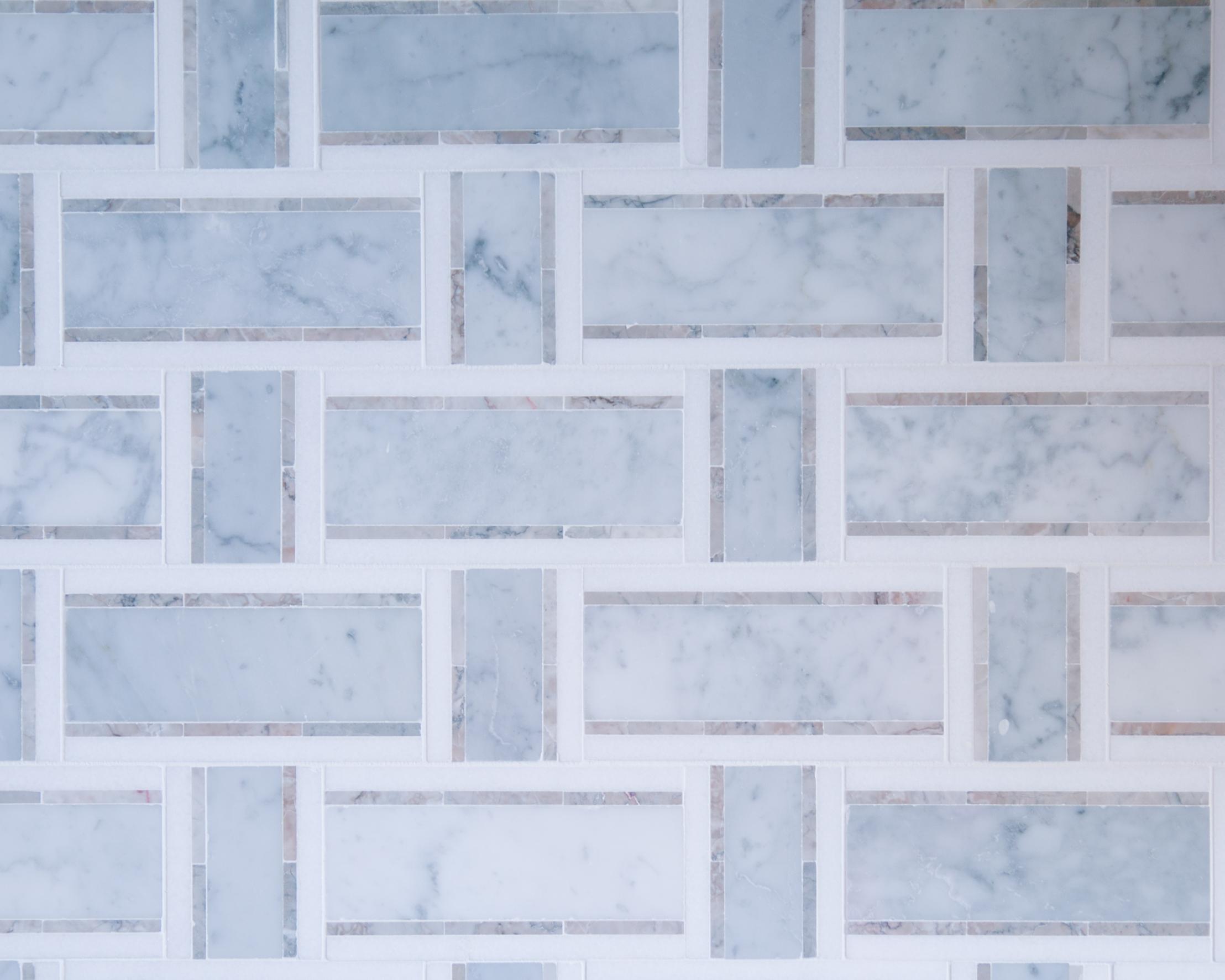 marble tile kitchen backsplash in custom home
