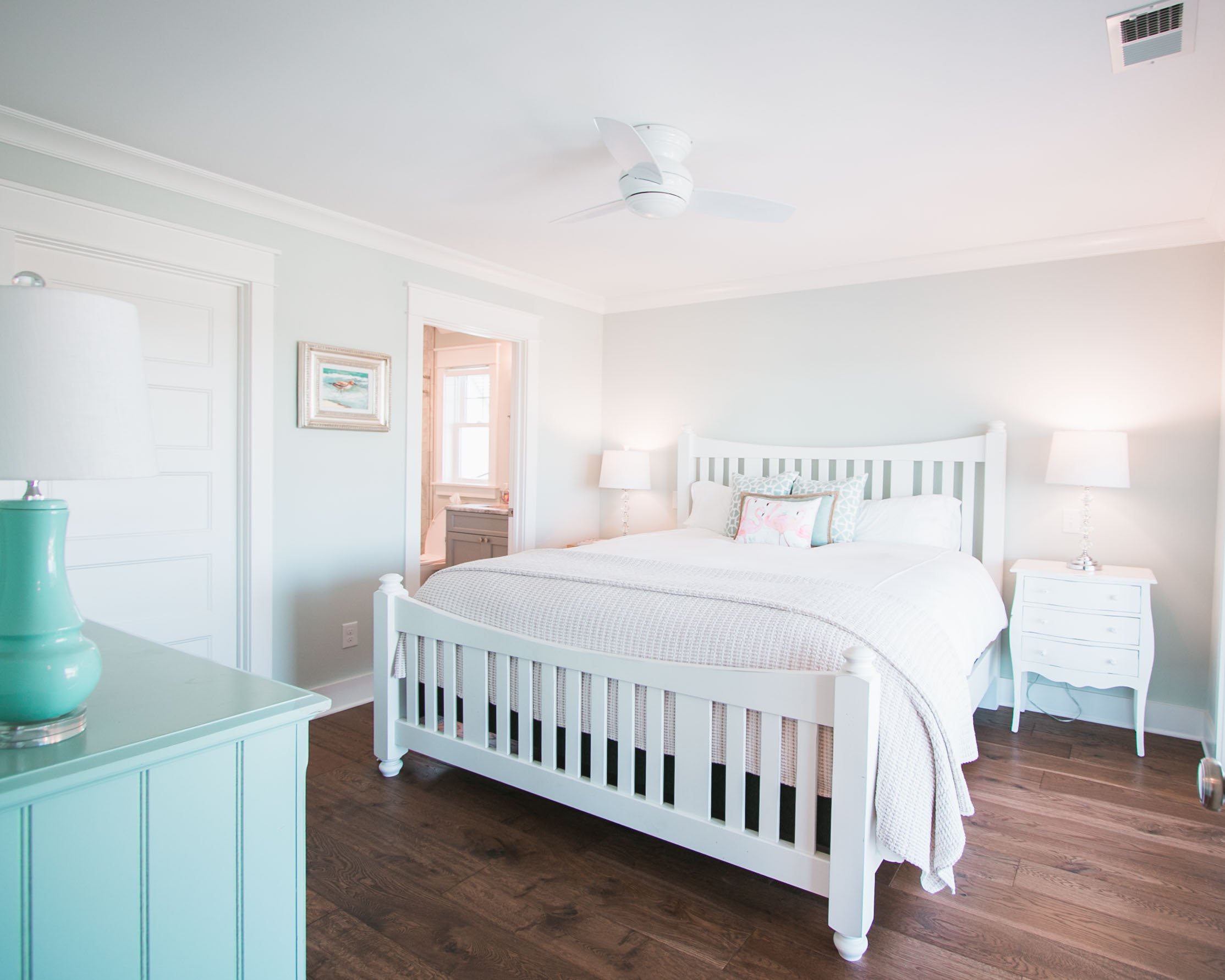 bright bedroom in new construction beach house