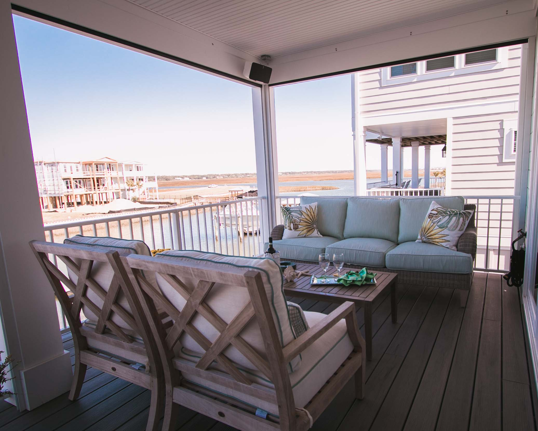 outdoor space by ocean isle beach home builder