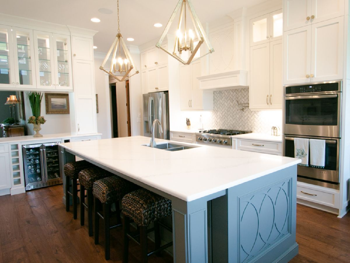 custom kitchen island in ocean Isle home