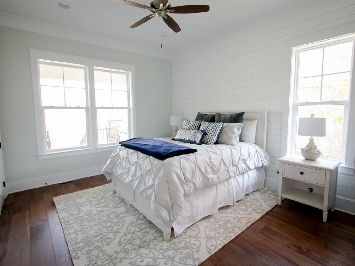 shiplap walls in bedroom